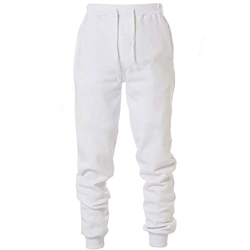 MorwenVeo Men's Basic Fleece Casual Pants - Active Jogger Sweatpants Fashion Track Pants with Pockets - 5Colors White