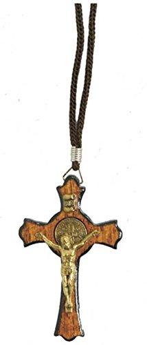 Catholica Shop I Catholic Religious Wear I Handmade Saint Benedict Jatoba Wood Gold Tone Crucifix Cross Corded Necklace I Crucifix Cross Necklace for Men & Women I Made in Brazil 1.77 Inches - Small