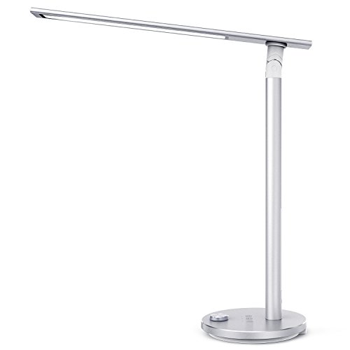 TaoTronics TT-DL037 Eye-caring LED Desk Lamp, Aluminum Alloy Table Lamp with 3 Color Modes, High CRI 92, Double-Light, Night Light, Philips EnabLED Licensing Program, Silver