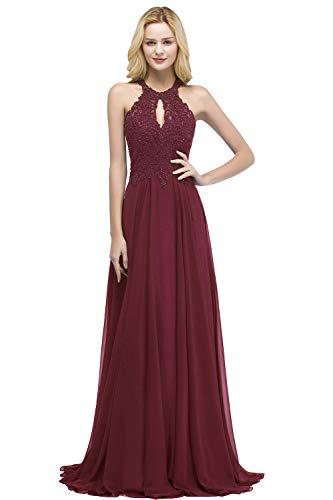 Misshow Ballkleid Neckholder Maxikleid Bordeaux Spitze Abendkleider Elegant Für Hochzeit Lang