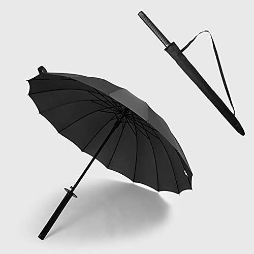 PWE-Paraguas De Estilo De Espada Japonesa Samurái Y Ninja para Decoración O Regalo,Dark Black,16K