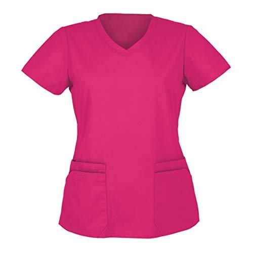 NINGSANJIN Damen Ärztin Krankenschwester Kostüm Doktor Arzt Kostüm Elfenbein Kurzarm ArztKasack Laborhemd Pflege Uniform Funny Cosplay Verkleidung (Pink, S)
