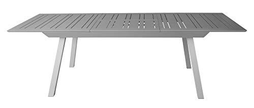 Gardissimo Luxus XXL Voll-Aluminium Ausziehtisch Estabulo Silber mit Synchronauszug, 216/297 x 100 cm