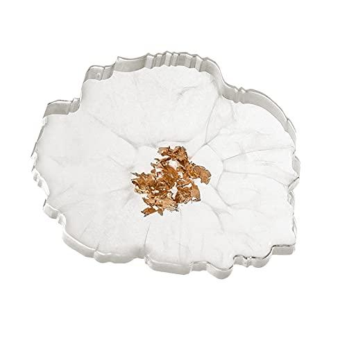 SIQDAK Manteles individuales, posavasos absorbentes, exquisitos posavasos de resina epoxi de lámina dorada resistente al calor, adecuados para mesas de comedor, restaurantes y hoteles.