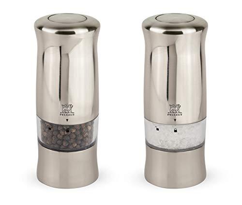 Peugeot Zeli Duo de moulins à poivre et sel électriques avec éclairage, Réglage classique, Couleur : Effet métal brossé, Taille : 14 cm, ABS, 2/28480