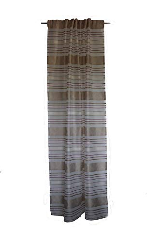 SCHMIDTGARD - Tenda con passanti nascosti, semitrasparente, 130 x 245 cm, colore: Bianco/Beige/Bacca