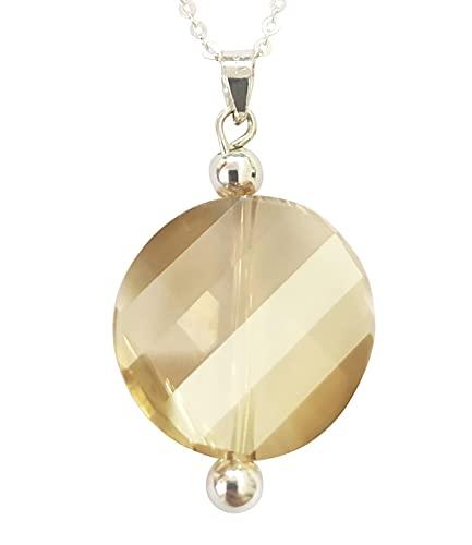 Sicuore Collar de Plata de Ley con Cristales de Swarovski - Plata De Ley 925 Incluye Cadena 45cm Y Estuche para Regalo (Dorado)