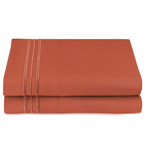 Clara Clark Premier 1800 Collection Pillowcase Set, Standard Size, Orange Rust, 2 Piece