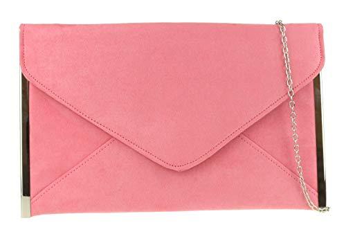 Girly HandbagsElegante Kunstleder Wildleder Clutch Bag Umschlag Plain Design Seiten Rahmen Hochzeit PromRosa