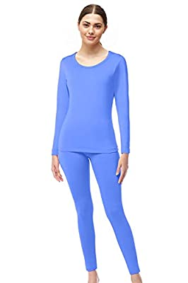 Womens Super Comfy Fleece Lined Thermal Underwear Long Johns AZ 2000 Blue M