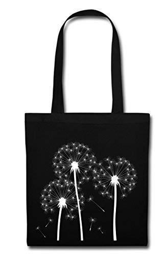 Mein Zwergenland Stofftasche mit langem Henkel, 2 L, Pusteblume, schwarz