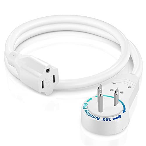 Maximm Extension Cord 1 Foot White Flat Plug, 360