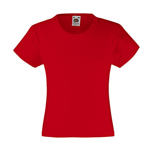 Fruit of the Loom Mädchen T-Shirt rot Rot 7 Jahre
