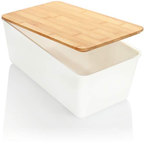 com-four® Caja de Pan, Caja de Pan con Tapa de bambú, la Tapa se Puede Usar como Tabla de Cortar, Caja de Almacenamiento de fácil Cuidado para Alimentos (34cm - Blanco)