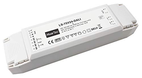 HuaTec Transformador LED 24V 75W Regulable con DALI 1-10V Interrruptor (PUSH Pri) Tensión Constante para Tira LED Alimentador Fuente de Alimentación LED