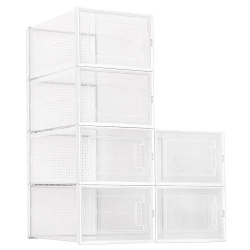 Amzdeal Stackable Shoe Box Large- 6 Pack Foldable Clear Plastic Sneaker Display Box Shoe Storage Box with Front Entry and Sturdy Frame Space Saving Shoe Container Bin Fit up to US Size 14