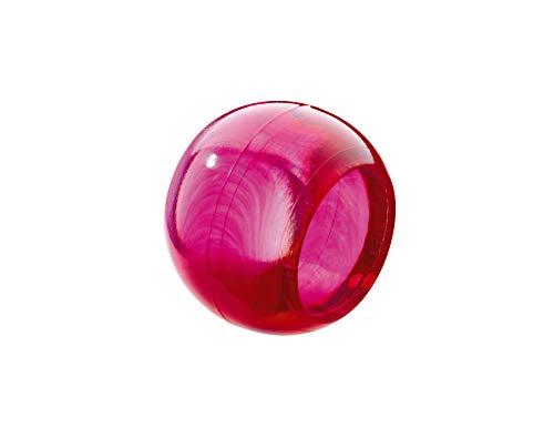 Prodecoshop 8 Schlaufenkugeln, Dekokugeln, Zierkugeln für Gardinen, Kunststoff, Ø Loch 16,5 mm, Kirsch transparent