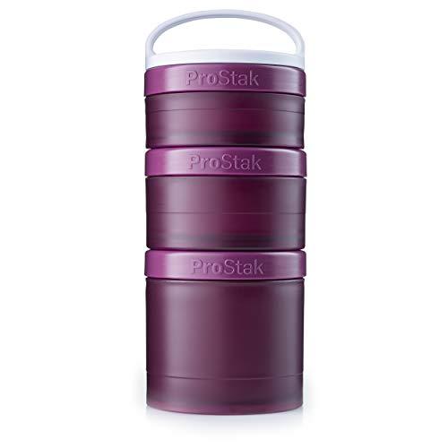 BlenderBottle ProStak Twist n' Lock Storage Jars Expansion 3-Pak with Removable Handle, Plum