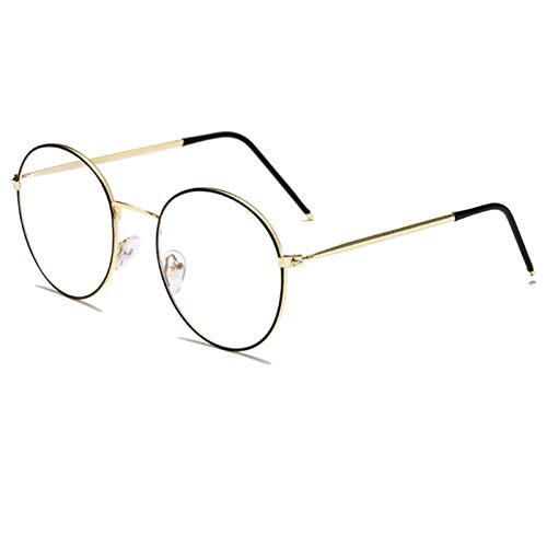 Anti azul claro gafas marco ultraligero metal redondo septectáculos hombres mujeres gafas de computadora gafas gafas gafas 210103 (Frame Color : Black gold)