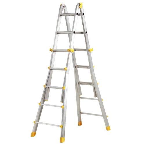 WOLFPACK LINEA PROFESIONAL 23020400 Escalera Telescópica Aluminio 4+4 Peldaños Perfil 67 Mm