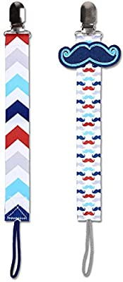 The Peanutshell Mustache Pacifier Clips for Boys, 2 Pack Paci Leash Set, Fits All Pacifier Brands