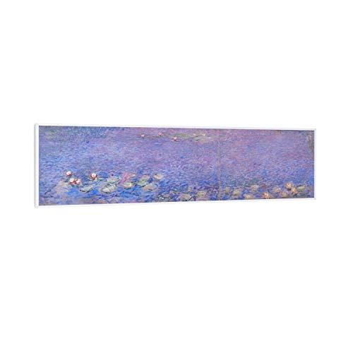Klarstein Wonderwall Air Art Smart - Infrarotheizung Elektroheizung Heizpanel, 350 W, 7 m², App-Steuerung, geräuschlos, Wandaufhängung, 120 x 30 cm, Design: Seerosen