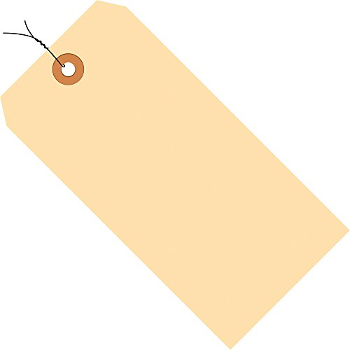 Aviditi G30053 10 Point Cardstock Pre-Wired Shipping Tag, 4-3/4' Length x 2-3/8' Width, Manila (Case of 1000)