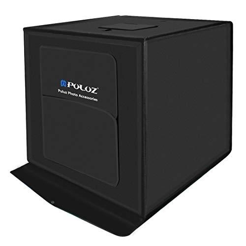 QKa Fotobox 60 cm (24 Zoll) Fotostudio-Lichtbox Tragbares Fotografie-Schießzelt mit beweglichen, dimmbaren LED-Lichtern mit 6 Farbhintergründen