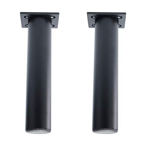 YeVhear - Juego de 2 muebles redondos de 7 pulgadas de aleación de aluminio para sofá o sofá, mesa armario, estante de trabajo, patas de repuesto, altura ajustador negro
