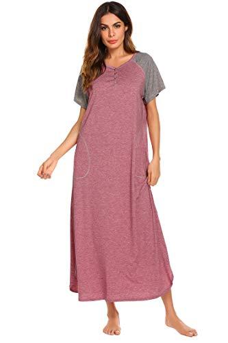 Ekouaer Damen Nachthemd V-Ausschnitt Loungewear Langarm Nachtwäsche volle Länge Nachthemd für Frauen S-XXL, rot, Mittel