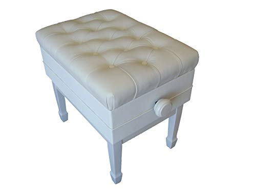 Genuine Leather Adjustable Artist Concert Piano Bench Stool in White with Music Storage