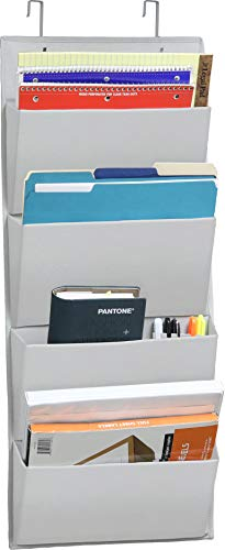 4 Pockets - Wall MountOver Door Office Supplies File Document Organizer Holder