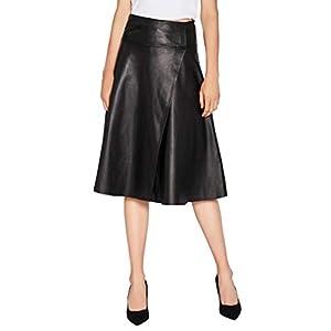 Women's Lambskin Leather Skirt Asymmetrical High Waisted A-Line Skirt Black SmartUniverseWear 13