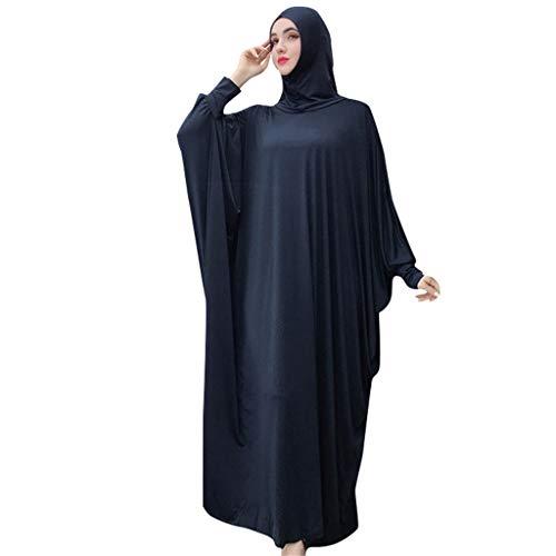 Viahwyt Muslim Roben Frauen einfarbig Kleid Moslemische Kopfbedeckungen Moschee Fledermaus Ärmel Roben Strickjacke Ramadan Kleid(Marine,Freie Größe)