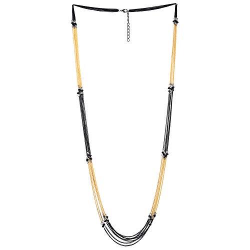 COOLSTEELANDBEYOND Negro Oro Statement Cuello Collares Collar Multi Capas Largo Cadena con Negro Cristal Perla Encantado con Colgantes Prom