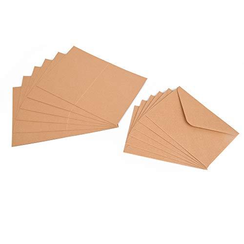 ewtshop® 100tlg. Set Kraftpapier Klappkarten und Briefumschläge aus Naturkarton für Gruß- und Glückwunschkarten, Einladungskarten