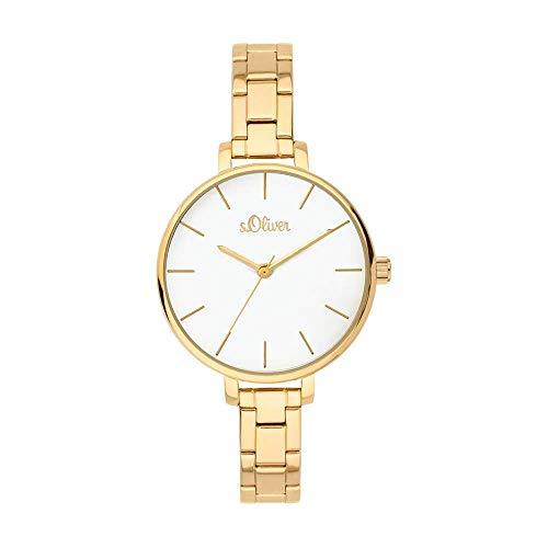 s.Oliver Damen-Armbanduhr Analog Quarz Edelstahl IP Gold poliert SO-3650-MQ