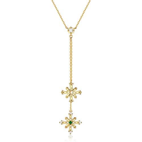 Epinki Plata de Ley 925 Collar para Mujer Niñas Copos de Nieve Colgando Esmeralda Oro Collar Colgante