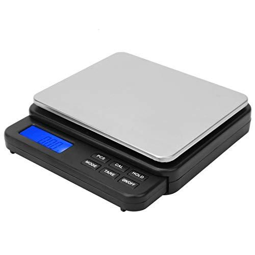 Mini báscula de cocina inteligente de alta sensibilidad para interiores con pantalla retroiluminada azul 1000g / 0,01g para el hogar(black)