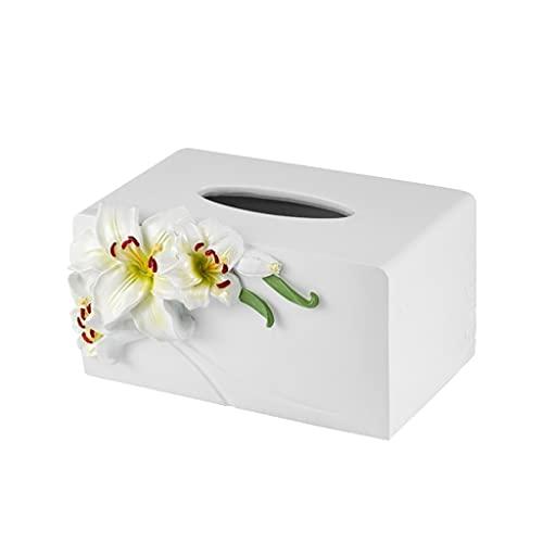 Lily Flower Cuadro de pañuelo Cubierta de Resina Papel Rack Rack Casas Casas Rectángulo Caja de pañuelos Contenedor Toalla Toalla Soporte Dispensador de Tejidos (tamaño : A)