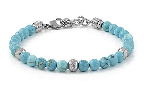 10:10 Bracciale con pietre di turchese naturali da 6 mm, beads diamantati in acciaio inox anallergico, bracciale per uomo e donna molto resistente prodotto in Italia
