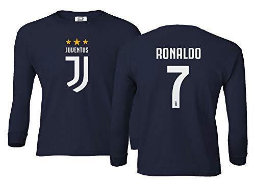 Spark Apparel Fußball-T-Shirt #7 Cristiano Ronaldo CR7 Jungen Mädchen Jugend Langarm T-Shirt, navy, Jugend Small