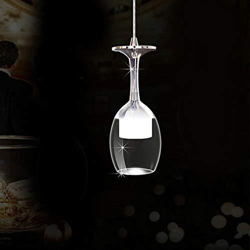 LED Weinglas Pendelleuchte Kristall Kronleuchter Massivglas Hängeleuchte K9 Pendellampe Esstisch Hängelampe Wohnzimmer Lüster Schlafzimmer Lichter Küche Lampe Esszimmer Deckenleuchte,6500k,1head