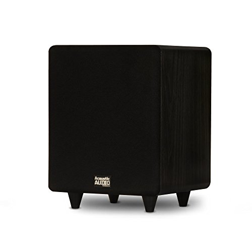 """Acoustic Audio PSW300-8 Home Theater Powered 8"""" LFE Subwoofer Black Front Firing Sub"""
