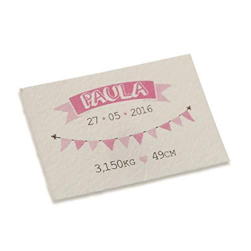 Mopec kaart horizontaal met slinger voor meisjes, 5 vellen, karton, wit, 0,02 x 3,50 x 5,00 cm, 5 stuks