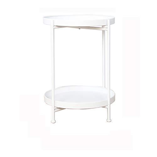 Mesa auxiliar redonda Mesa de Centro con estructura de metal mesa de café para salón dormitorio oficina Diámetro dorado 40X51.5 alto,Blanco