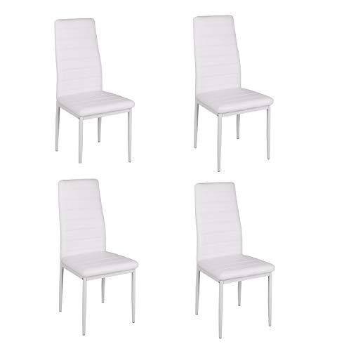Juego de 4 sillas de comedor con respaldo alto de piel sintética, patas de metal, cómodas y transp