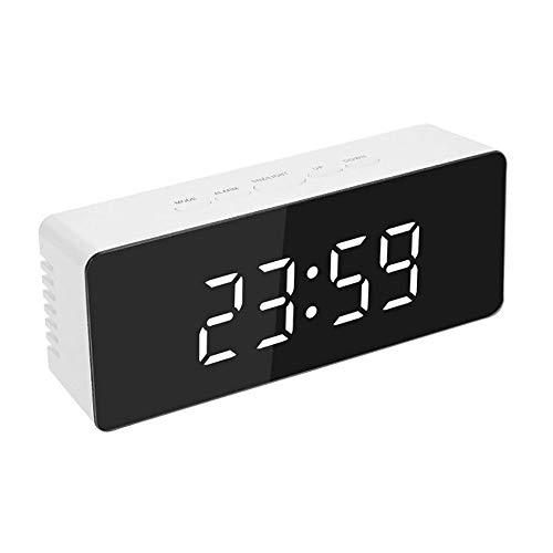 XXBR Spiegel Alarm Klok Draagbare LED Spiegel Alarm Klokken HD Digitale Alarm Klok Tafel Klok Reizen Horloge met Groot Scherm 12 / 24H display, USB-poort voor Smartphone