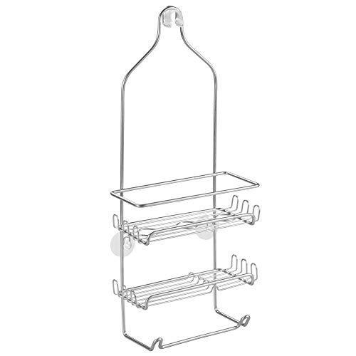 iDesign Milo - Organizador de ducha colgante de acero (29 x 11,4 x 54 cm), color plateado