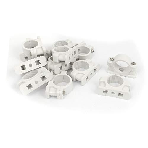 X-DREE 25 mm de diámetro montado en la pared clip de tubo de plástico abrazadera sujetador blanco 12pcs (b0cd47c3903a8523d0c5de3be524f2c5)